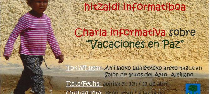 """Charla-Hitzaldia """" oporrak bakean-vacaciones en paz"""""""