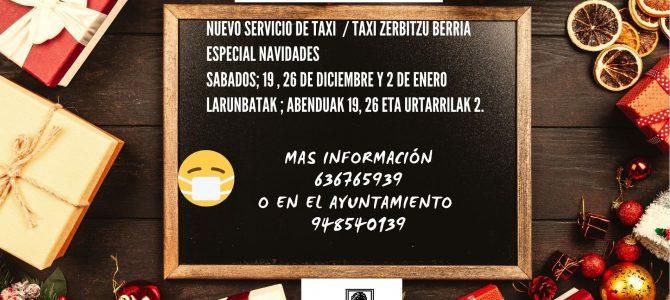 BANDO -NUEVO SERVICIO DE TAXI – ESPECIAL NAVIDADES